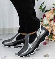 Кожаные женские спортивные туфли-кроссовки,цвет никель 36-41р