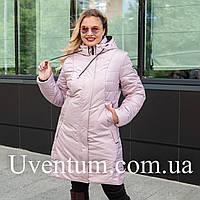 Удлиненная куртка женская демисезонная большого размера 50-60 пудра