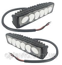 Комплект LED линзы, в каждой фаре по 6 светодиодных линз.12-24V 18W (15*3,5 см)