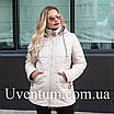 Подовжена куртка жіноча демісезонна великих розмірів 52,54,56 чайна троянда, фото 5