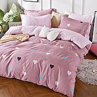 Розовый полуторный комплект для девочек Сердечки, полуторное постельное белье микрофибра