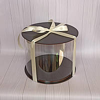 Коробка для тортика Прозрачная (тубус) Диаметр 25см, высота 20см, черная
