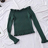 Жіноча кофтинка зі спущеними / відкритими плечима (червоний, білий, чорний, зелений, бежевий), фото 4