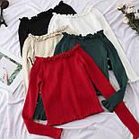 Жіноча кофтинка зі спущеними / відкритими плечима (червоний, білий, чорний, зелений, бежевий), фото 8