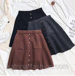 Женская стильная трикотажная юбка с карманами (в расцветках)
