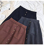 Жіноча стильна спідниця трикотажна з кишенями (в кольорах), фото 8
