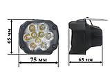 LED фара МОТО. Светодиодная лэд фара на 9 диодов. DC 9-85v, 15w. Пр-во Корея, фото 3
