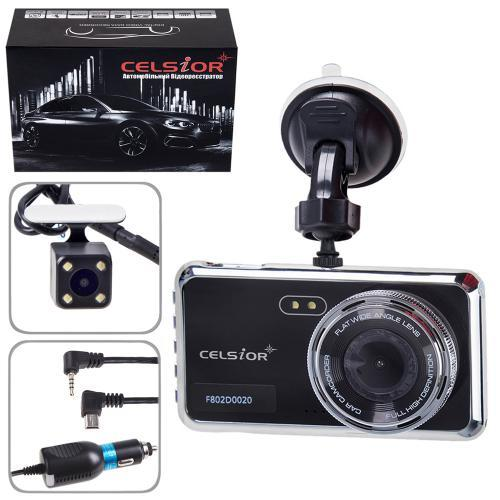 Автомобильный цифровой видеорегистратор CELSIOR DVR F802D FHD двухкамерный (DVR F802D FHD)
