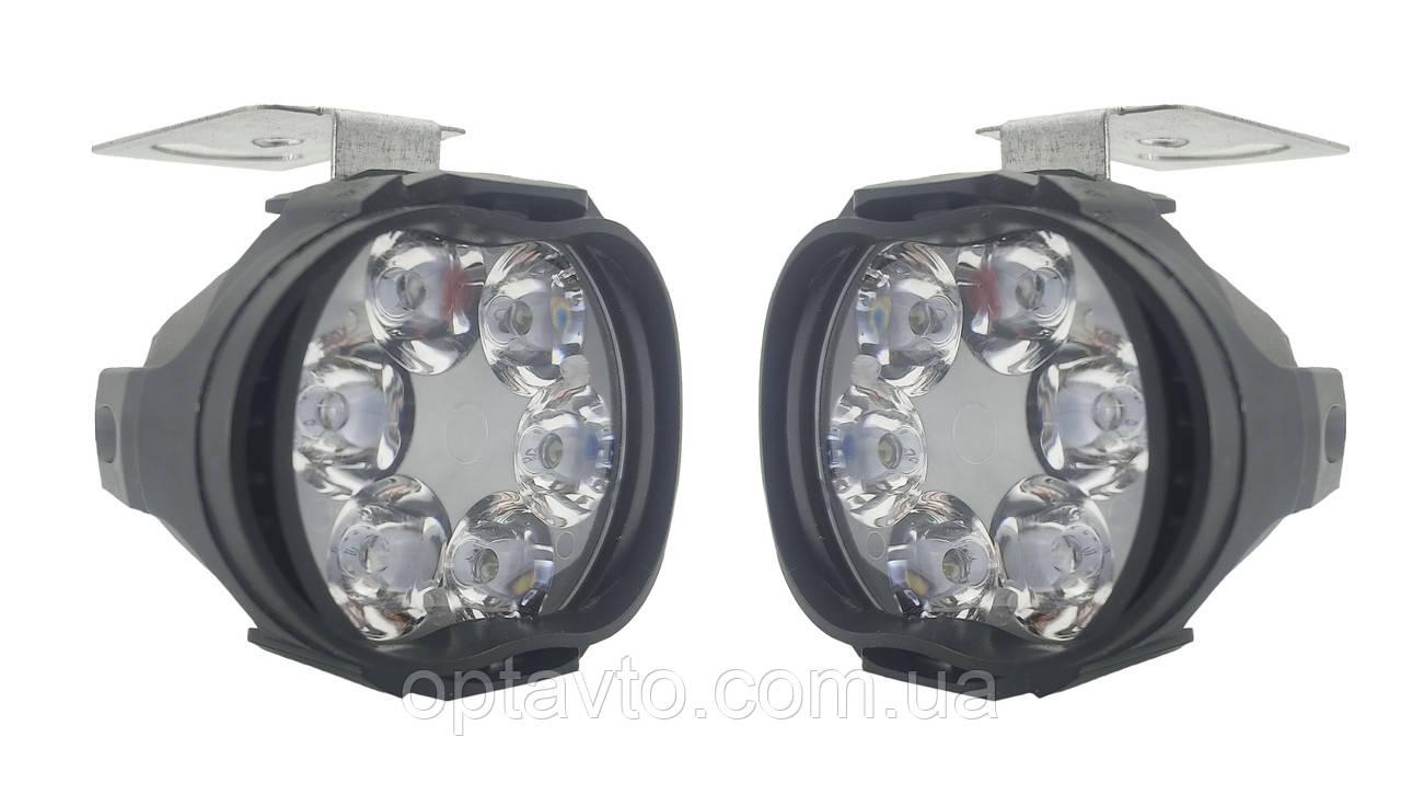 Комплект LED фар для мотоциклов, скутеров. Светодиодные лэд фары на 6 диодов. 10w. Пр-во Корея