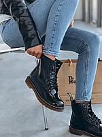 Зимние женские ботинки Dr. Martens Boots 1460 Fur Black Rainbow Lacqured (реплика)