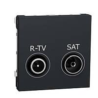 Розетка R-TV SAT прохідна антрацит Unica New Schneider Electric NU345654