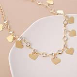 """Цепочка-чокер с сердечками и стразами """"Golden Hearts"""", золото, фото 6"""