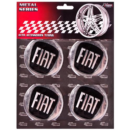"""Наклейки на колпаки, диам. 60 мм """"FIAT"""" черные (4 шт)"""