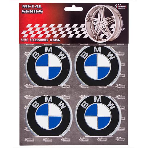 """Наклейки на колпаки, диам. 60 мм """"BMW"""" черные (4 шт)"""