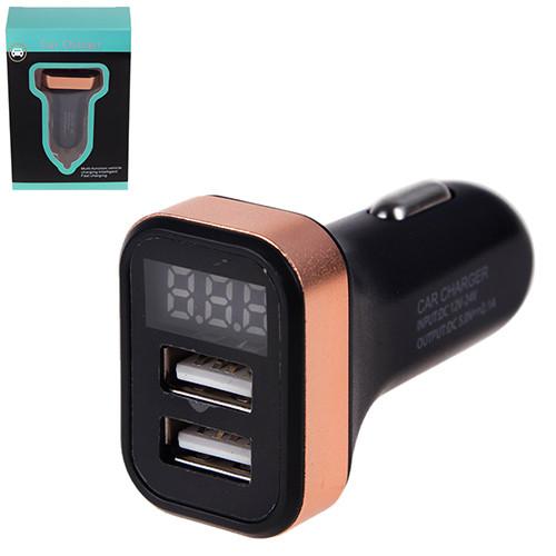 Автомобильное зарядное устройство 2 USB 12-24V 5V/2.1A + вольтметр (09755 USB-12-24V 2.1A)