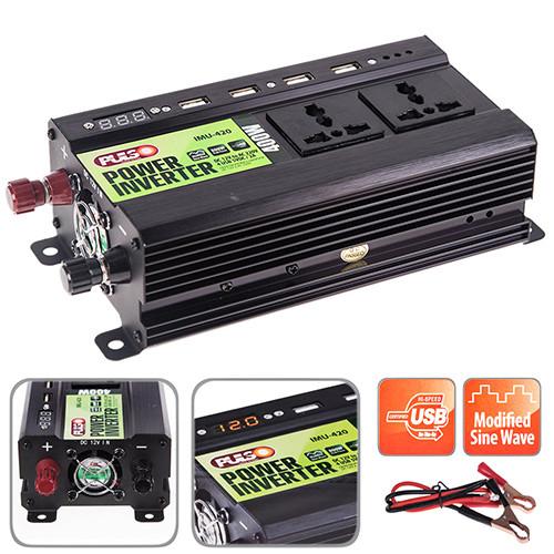 Преобраз напряжения PULSO/IMU 420/12V-220V/400W/4USB-5VDC20A/LED/модволна/клеммы (IMU-420)