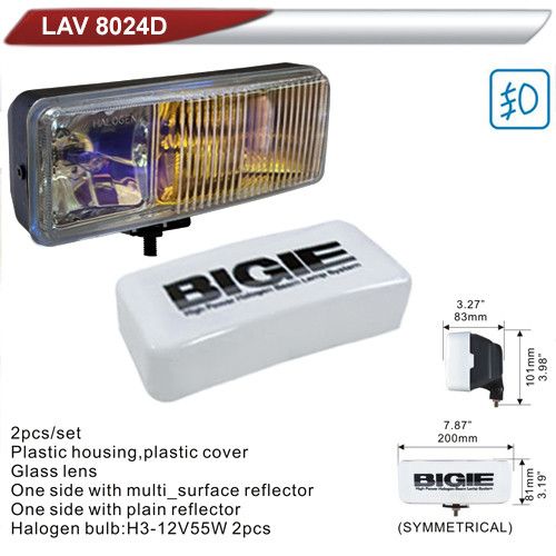 Фары дополнительные  DLAA 8024D-RY/BIGIE/2хH3-12V/200*81mm/крышка (LAV 8024D-RY)