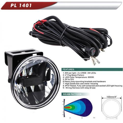 Фара доп. PL-1401 LED-CREE/10-32V/2*6W/2*400LM/6000К/D=100mm/эл.проводка (PL-1401-LED)