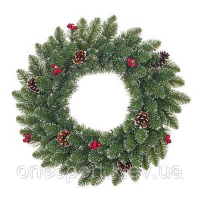 Вінок декоративний штучний Creston Frosted зелений з декоративними шишками та ягодами, ? 60 см, Black Box Trees Edelman® (код 131-549147)