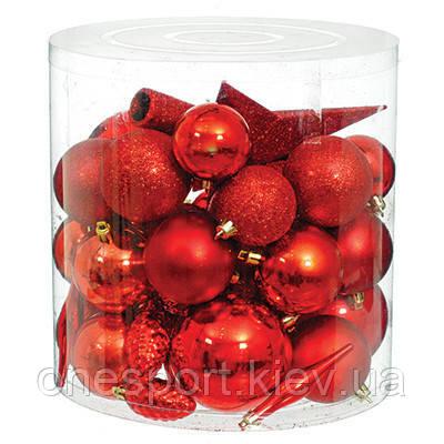 Набір новорічних прикрас в асортименті, 40 шт. червоний (код 131-554704)