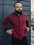 Мужской короткий тканевый бомбер цвет хаки на пуговицах осень весна.Мужская ветровка куртка цвета хаки, фото 3