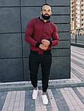 Мужской короткий тканевый бомбер цвет хаки на пуговицах осень весна.Мужская ветровка куртка цвета хаки, фото 4