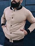 Мужской короткий тканевый бомбер цвет хаки на пуговицах осень весна.Мужская ветровка куртка цвета хаки, фото 7