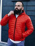 Мужская черная короткая куртка с капюшоном осень весна 2020. Мужская ветровка черная стеганая демисезонная, фото 2