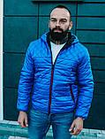 Мужская черная короткая куртка с капюшоном осень весна 2020. Мужская ветровка черная стеганая демисезонная, фото 3