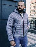 Мужская черная короткая куртка с капюшоном осень весна 2020. Мужская ветровка черная стеганая демисезонная, фото 4