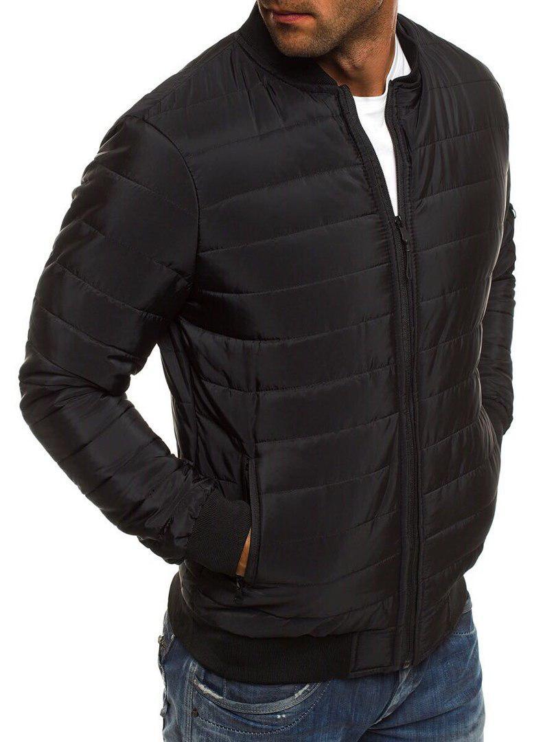 Мужская короткая стеганая куртка без капюшона черная осень весна.Мужская ветровка черная стеганая бомбер