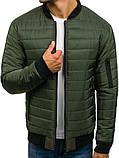 Мужская короткая стеганая куртка без капюшона черная осень весна.Мужская ветровка черная стеганая бомбер, фото 4