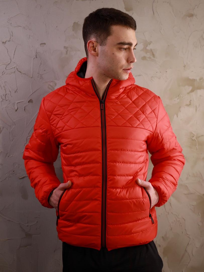 Мужская короткая стеганая куртка с капюшоном красная осень весна.Мужская демисезонная ветровка красная