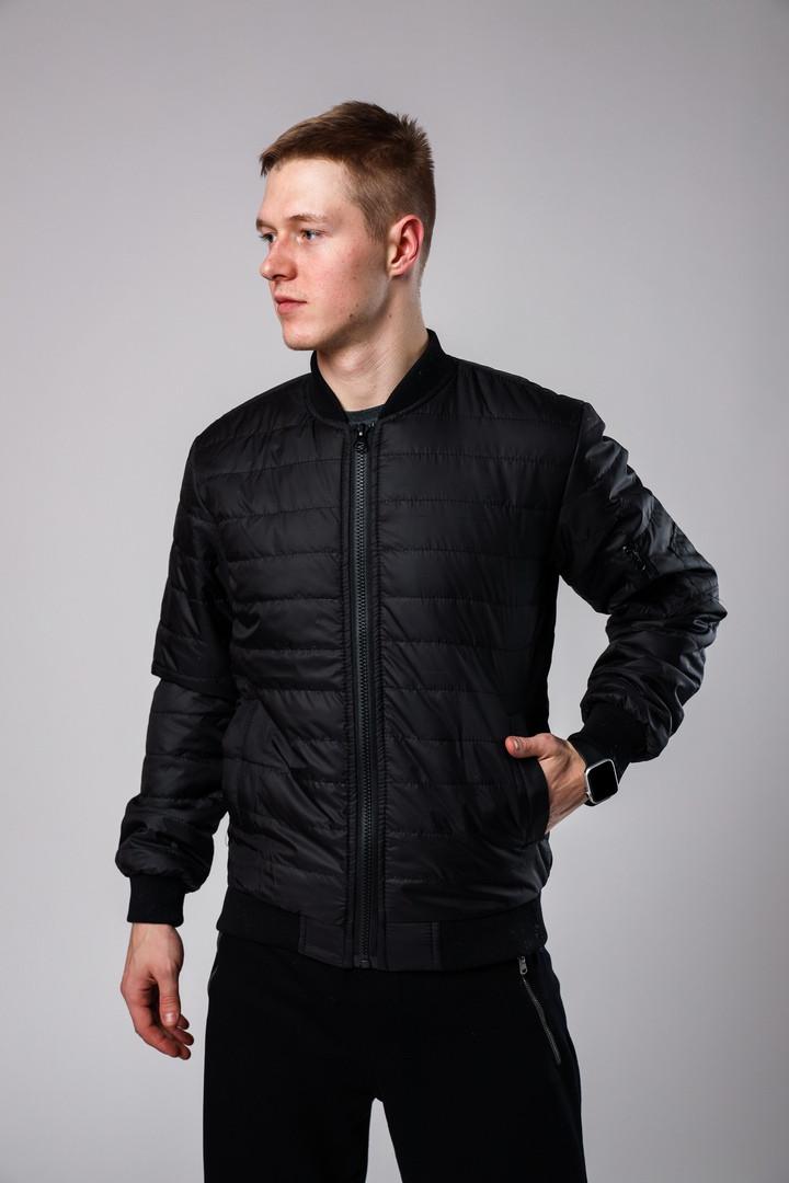 Мужской черный стеганый короткий бомбер без капюшона.Мужская черная ветровка стеганая куртка