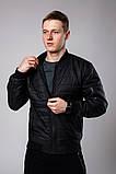 Мужской черный стеганый короткий бомбер без капюшона.Мужская черная ветровка стеганая куртка, фото 2