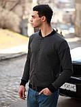 Мужской серый короткий бомбер/ветровка на пуговицах.Мужская короткая куртка кофта осень/весна, фото 4