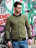 Мужской серый короткий бомбер/ветровка на пуговицах.Мужская короткая куртка кофта осень/весна, фото 6