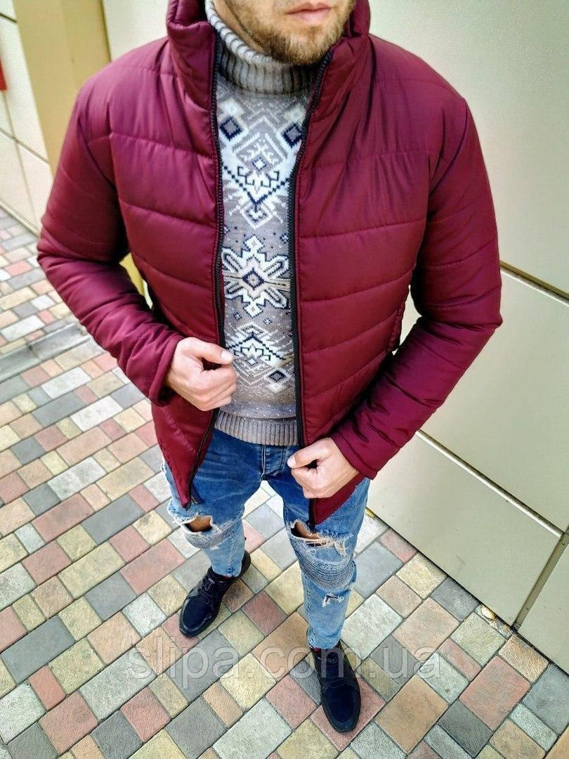 Чоловіча зимова куртка без капюшона бордова