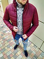 Чоловіча зимова куртка без капюшона бордова, фото 1