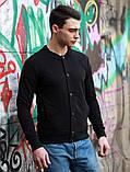 Мужской темно серый короткий бомбер/ветровка на пуговицах.Мужская короткая куртка кофта демисезонная, фото 4