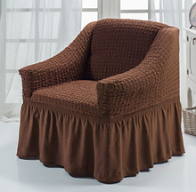 Чехол на кресло универсальный натяжной на резинке с юбкой Коричневый Жатка