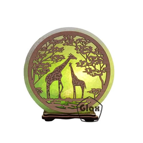 """Соляна лампа світильник """"Жирафи"""""""