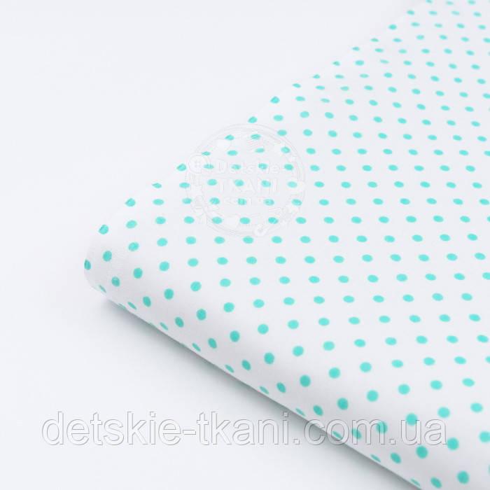 Лоскут ткани с мятным горошком 4 мм на белом фоне №1270, размер 46*82