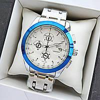 Мужские часы tissot (тисот) с кварцевым хронографом, серебро с синим, белый циферблат, код 1669