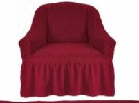 Чехол на кресло универсальный натяжной на резинке с юбкой Бордовый Жатка