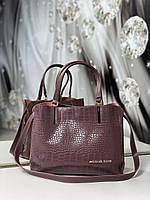 Пудровая женская сумка среднего размера сумочка небольшая классическая рептилия экокожа, фото 1