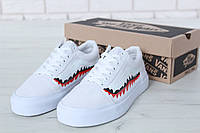 Мужские белые Кеды Vans Old Skool Shark (реплика)