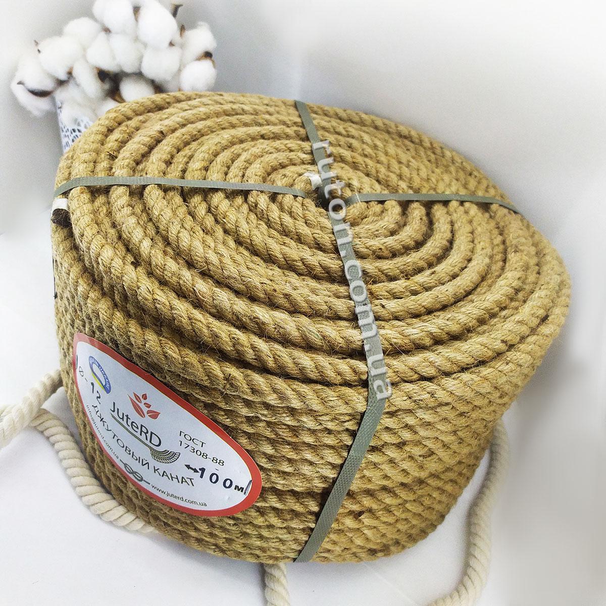 Веревка джутовая витая декоративная 12 мм 100 м