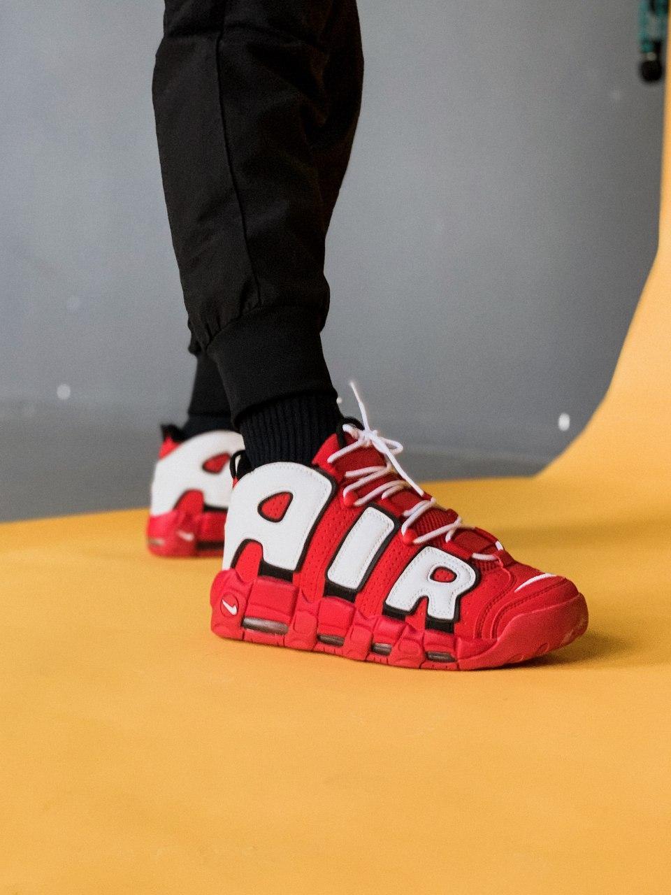 Мужские кроссовки в стиле Nike Air More Uptempo (red/white), Реплика ААА