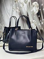 Сумочка женская синяя среднего размера сумка небольшая классическая экокожа